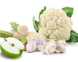 Frutas y verduras blanca