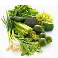 Frutas y verduras verde